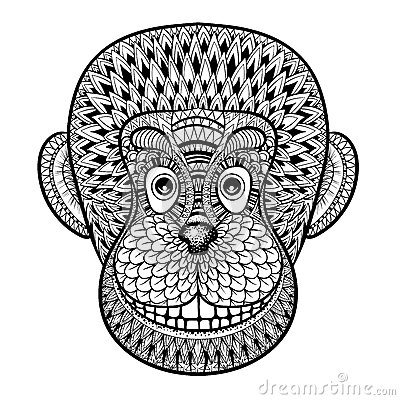 Tree coloring pages only coloring pages - Coloring Pages With Head Of Monkey Gorilla Zentangle Illustrat Stock