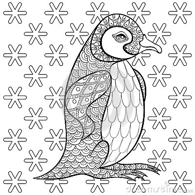 Coloring pages with king penguin among snowflakes for Penguin adult coloring pages