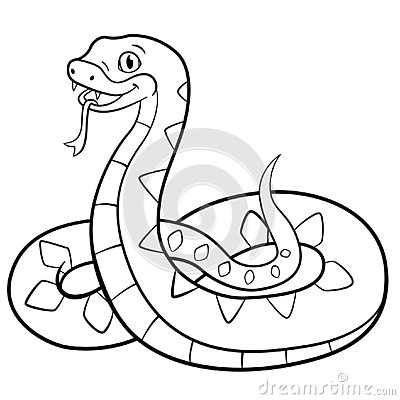 Free Coloring Pages. Little Cute Viper Smiles Royalty Free Stock Photos - 141368888