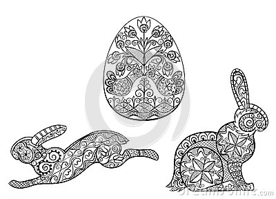 Coloring Pages Symbols Of Easter Egg Hare Rabbit Stock