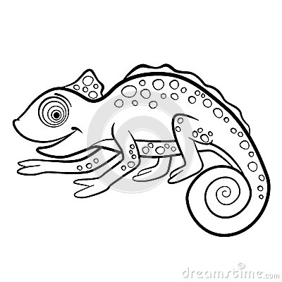 Free Coloring Pages. Wild Animals. Little Cute Chameleon. Stock Photography - 72189732