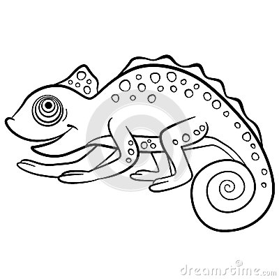 Free Coloring Pages. Wild Animals. Little Cute Chameleon. Royalty Free Stock Image - 72189826