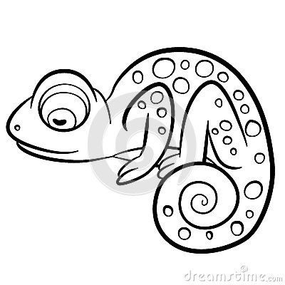 Free Coloring Pages. Wild Animals. Little Cute Chameleon. Royalty Free Stock Images - 72425059