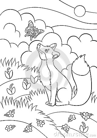 coloring pages wild animals little cute fox looks at the butterfly stock vector image 74397516. Black Bedroom Furniture Sets. Home Design Ideas