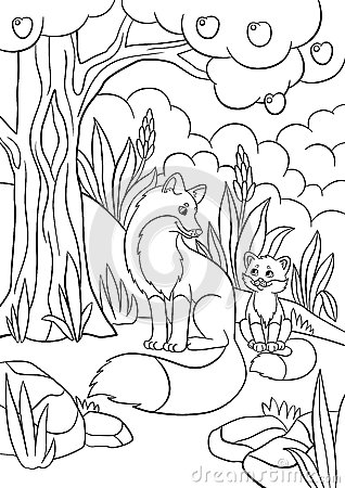 coloring pages wild animals mother fox with her little cute baby stock vector image 74397683. Black Bedroom Furniture Sets. Home Design Ideas