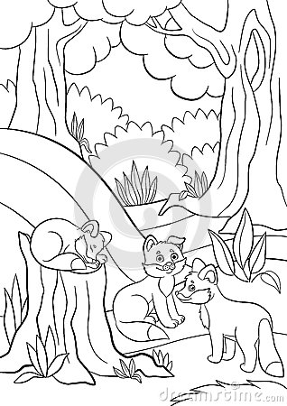 coloring pages wild animals three little cute baby fox stock vector image 74397572. Black Bedroom Furniture Sets. Home Design Ideas