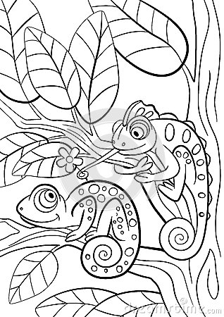 Free Coloring Pages. Wild Animals. Two Little Cute Chameleon. Royalty Free Stock Image - 72191586