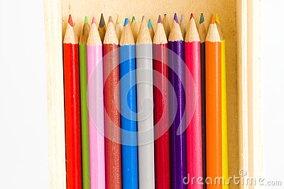 Coloring pencils in a wooden pencil box