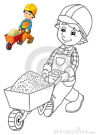 the coloring plate construction worker illustration for the children with preview stock photography image 33253542