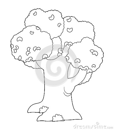 The coloring plate - tree - illustration for the children