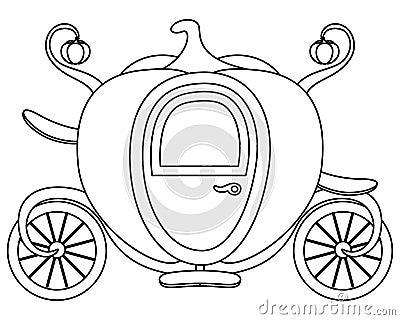 Coloring pumpkin cinderella 39 s carriage vector illustration for Cinderella carriage coloring page