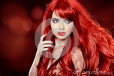 Coloring Red Hair. Fashion Girl Portrait With Long Curly Hair ov