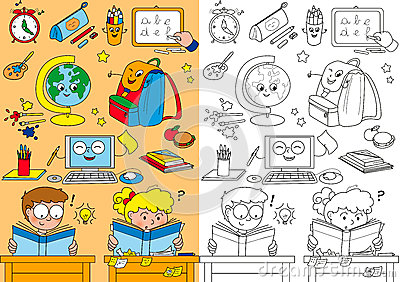 Coloring school elements for little kids