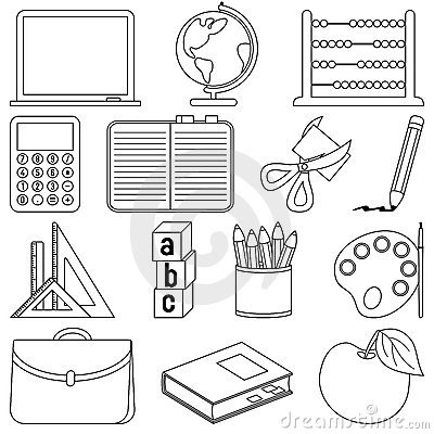 Free Coloring School Icons Royalty Free Stock Photos - 10850768