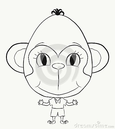 Free Coloring, Small, Funny Monkey Boy Stock Photos - 115733453
