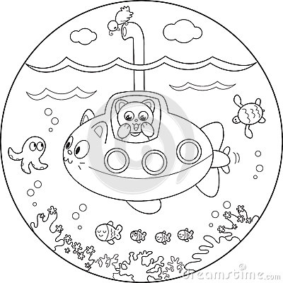 Coloring submarine under water
