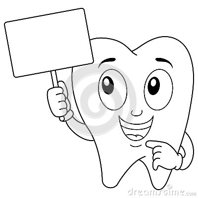 Coloring Tooth Character With Blank Banner Vector ...