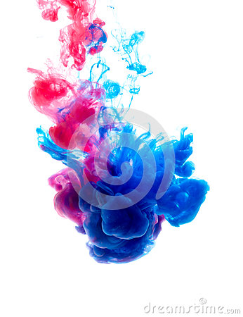 Free Colors Dropped Into Liquid And Photographed While In Motion. Cloud Of Silky Ink In Water On White Isolated Royalty Free Stock Image - 95622976