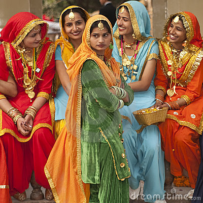 Colors of India. Female Dancers from the Punjab. Editorial Photo