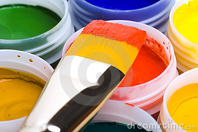 Colors and painting brushes.
