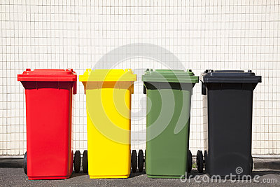 Colors recycle bins on the street
