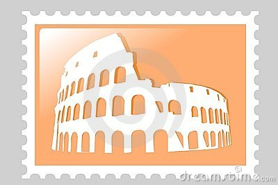 Colosseum Amphitheater. Postage stamp.
