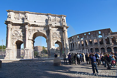 The Colosseum and the Arch of Constantine in Rome Editorial Stock Image