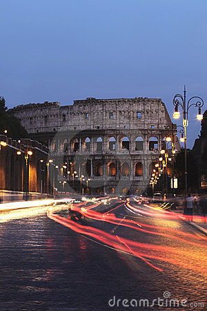 Colosseum and cars at night, Rome