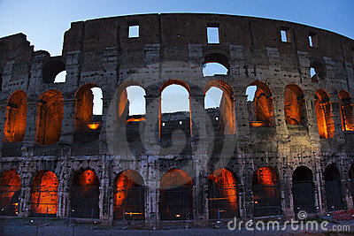Colosseum Evening Details Rome Italy