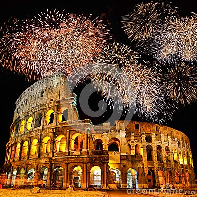 Colosseum with fireworks