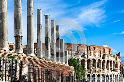 Colosseum,the Flavian Amphitheatre seen from Forum