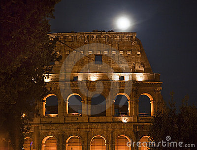 Colosseum Night Moon Details Rome Italy