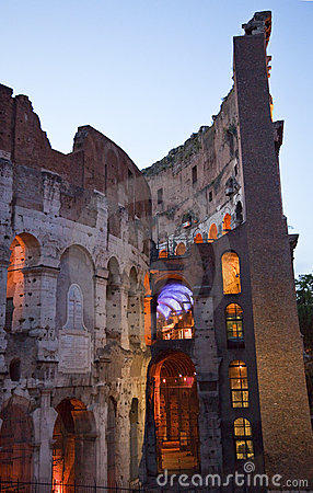 Colosseum Outer Ring Evening Rome Italy