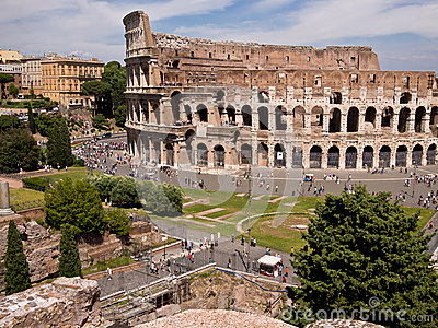Colosseum from Palatine Hill Rome Italy Editorial Photography