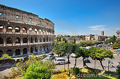 Colosseum and Roman Forum on the horizon Editorial Stock Image