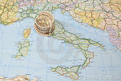 Colosseum, Rome on Italy map - miniature souvenir