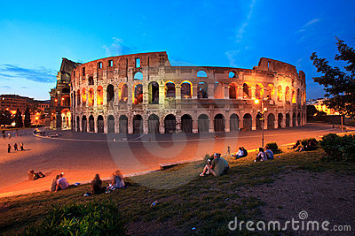 The Colosseum in Rome by night (at twilight) Editorial Image