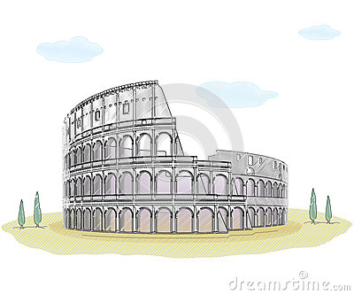 Colosseum - sketch drawing