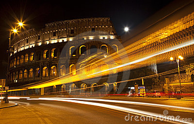 Colosseum Street Abstract Night Moon Rome Italy