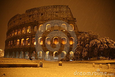 Colosseum under the snow Editorial Stock Image