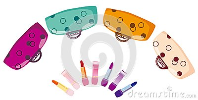 Colour bags and lipstick