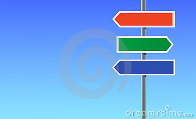 Colour blank directional sign.