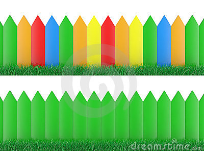 Colour fence and grass