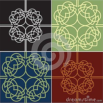 Colour Ornate Quads. Four Variants.
