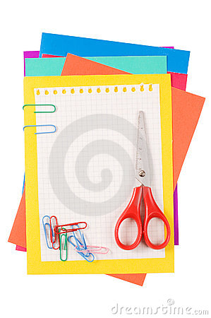 Colour paper with a paper clip