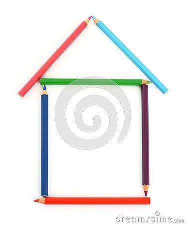 Colour pencil house