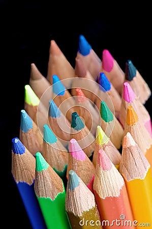 Colour pencils on black
