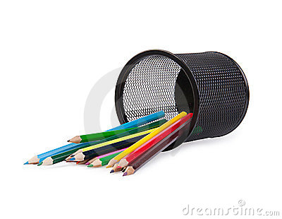 Colour pencils in a black holder