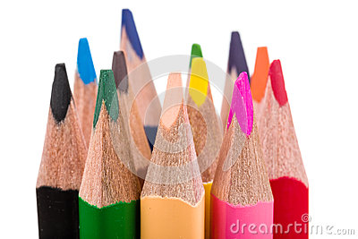 Colour pencils isolated on white