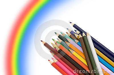 Colour pencils and rainbow